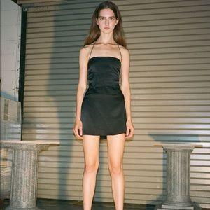 Danielle Guizio Bondage Satin Black Mini Dress